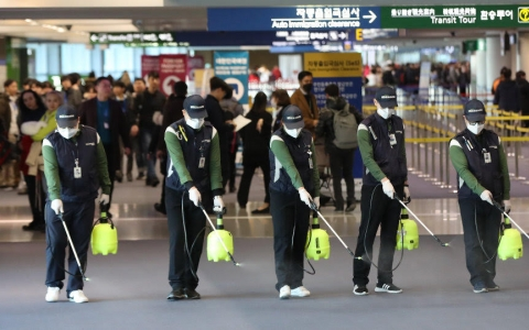 Emergency task force cleaning a terminal