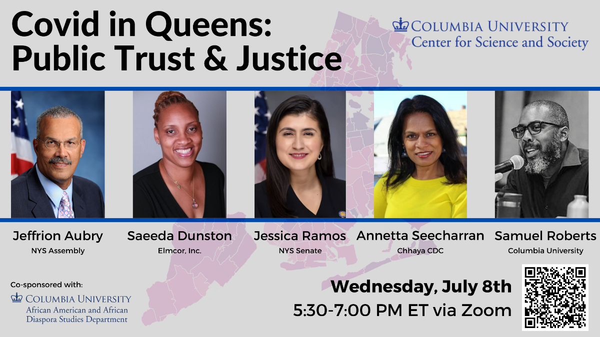Image of event speakers with event title (COVID in Queens: Public Trust and Justice)