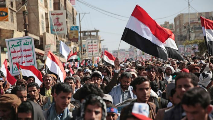 Houthi supporters attend a rally marking six years for a Saudi-led coalition in Sanaa, Yemen, March 26. (AP Photo/Hani Mohammed)