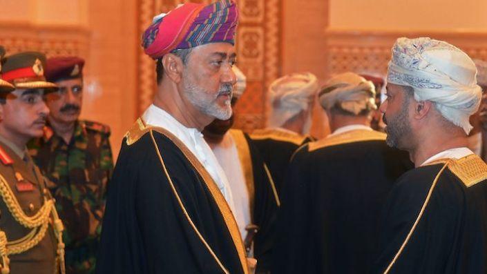 Oman's newly sworn-in Sultan Haitham bin Tariq al-Said receives condolences during the funeral of the late Sultan Qaboos bin Said in Muscat, Oman January 11, 2020. (REUTERS/Sultan Al Hasani)