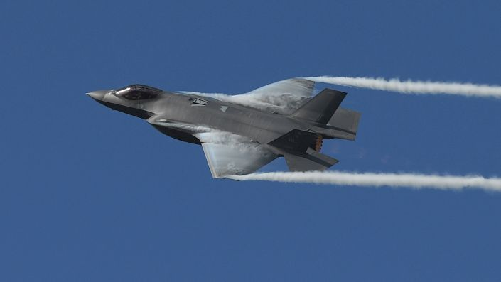 The F-35 Lightning II performs during the Fort Lauderdale Air Show in Fort Lauderdale, Florida, November 21, 2020. (mpi04/MediaPunch /IPX)