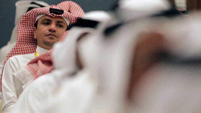 A Saudi man attends a Gulf youth conference in Riyadh, Saudi Arabia, April 28, 2012. (AP Photo/Hassan Ammar)