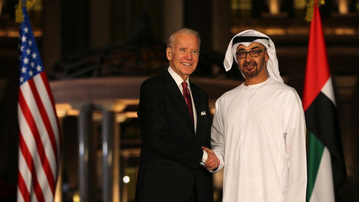 Joseph R. Biden Jr., then U.S. vice president, shakes hands with Abu Dhabi's crown prince, Mohammed bin Zayed al-Nahyan, in Abu Dhabi, United Arab Emirates, March 7, 2016. (AP Photo/Kamran Jebreili)
