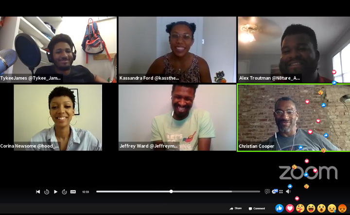 Screenshot of panelists for Zoom discussion during Black Birders Week