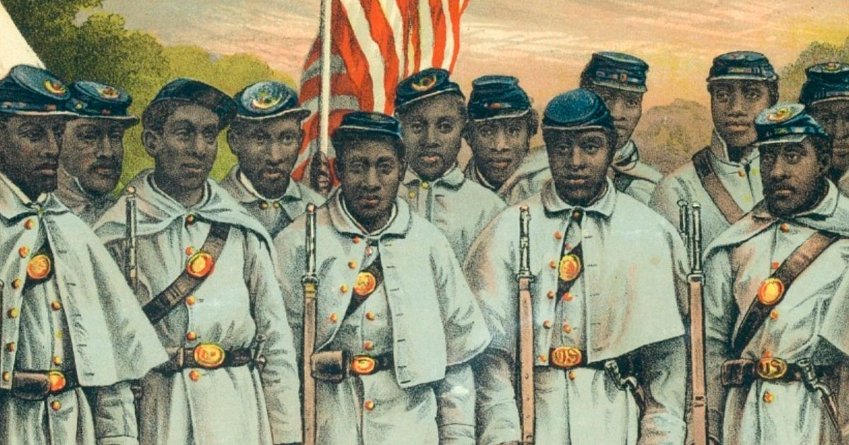 A lithograph of African American soldiers during the Civil War.