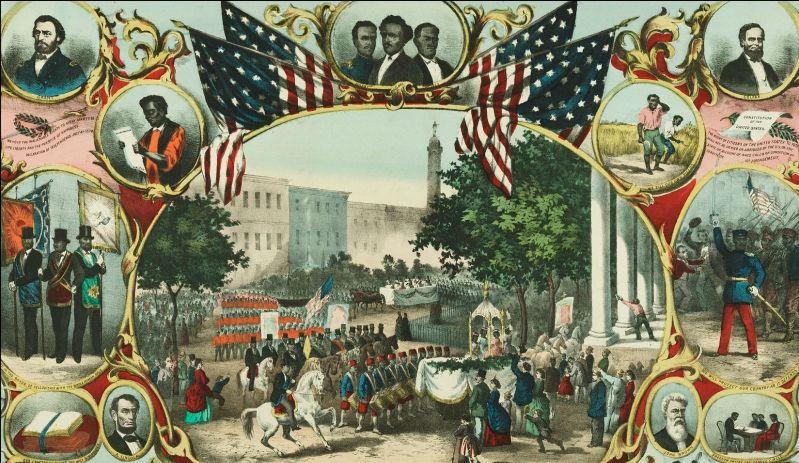 A lithograph showing expected effects of the 15th Amendment.