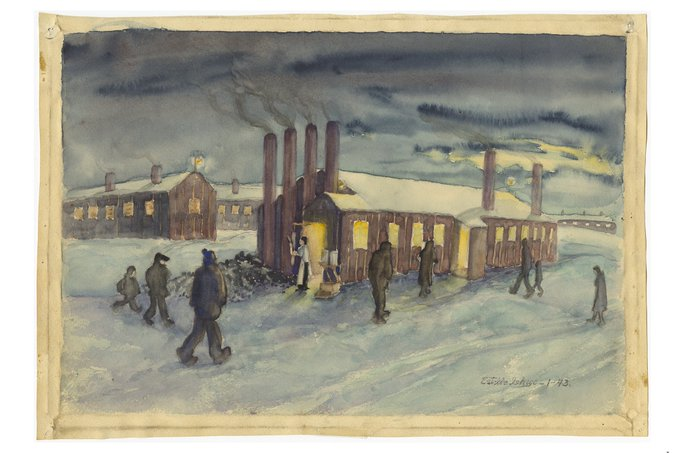 A watercolor painting of barracks at an incarceration camp.