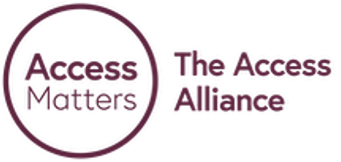 """Purple circle with """"Access Matters"""" written in the circle. Next to the circle, """"The Access Alliance"""" is written on the right, next to the circle in purple"""