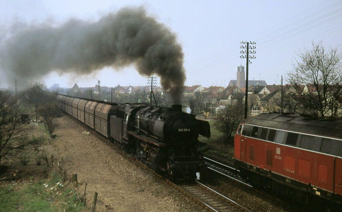 Η πετρελαιοκίνητη 043 (044) μπαίνει στο Rheine από τον βορρά, Πάσχα 1974