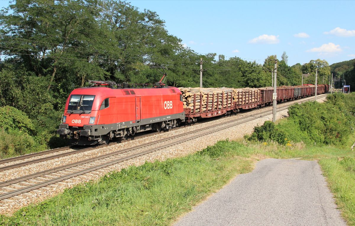 Η ÖBB 1016 033 με εμπορικό συρμό στο Unter Oberndorf