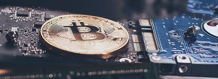 bitcoin on circuit board