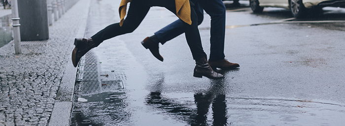 jumping over a puddle