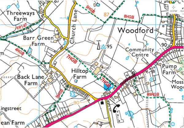 OS map of central Woodford showing footpath 7HGB