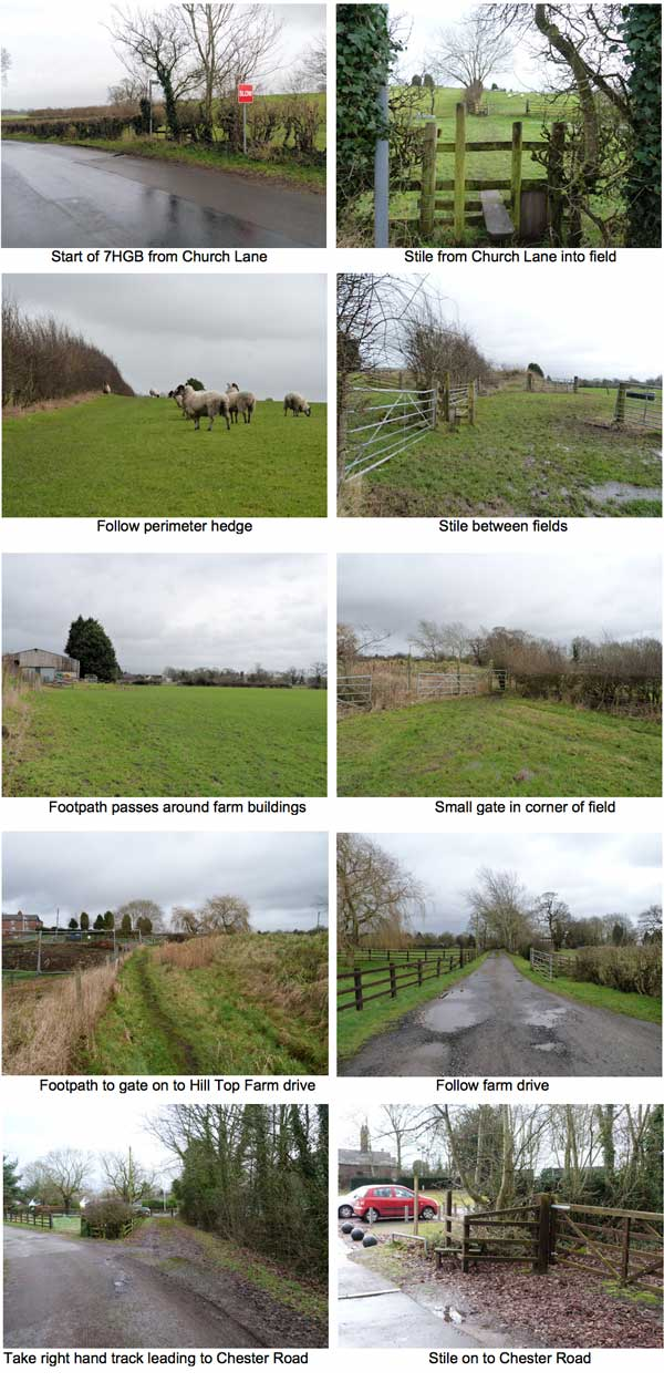 Photographs of landmarks on the Woodford 7HGB footpath walk from Church Lane to Chester Road