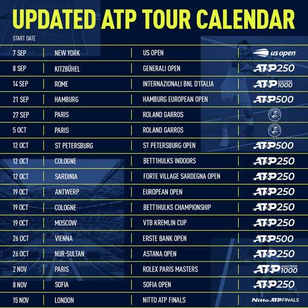 Updated ATP Tour Calendar