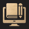 Icon of a Computer, Book and Pencil