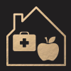Icon of house with an apple and first aid kit
