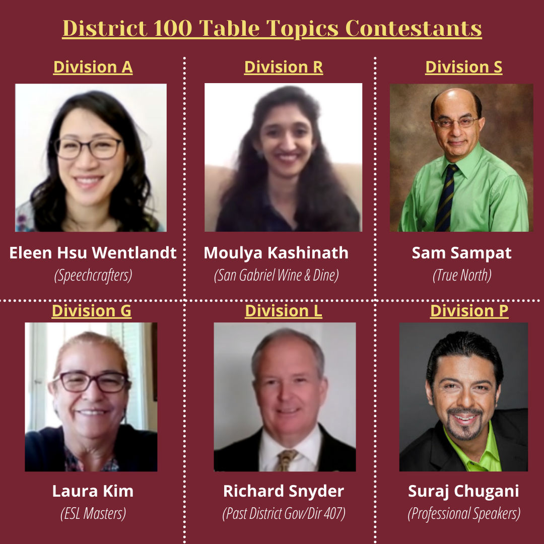 District 100 Table Topics Contestants