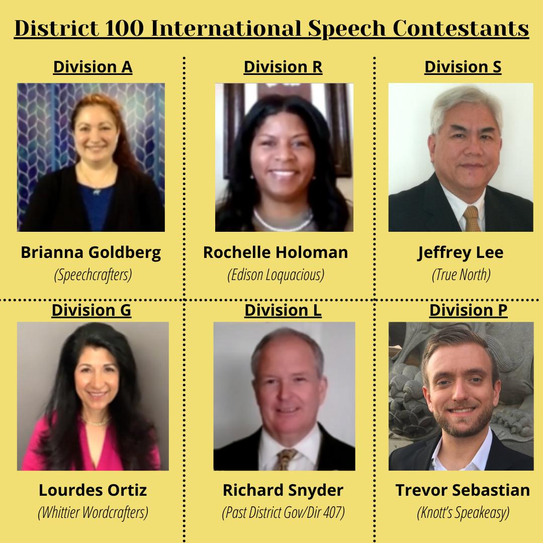 District 100 International Speech Contestants