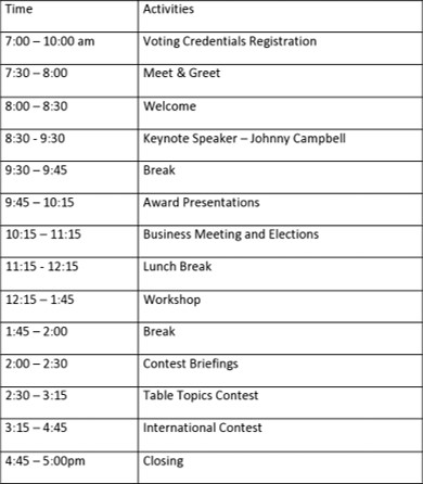 Full Schedule of Events (Spring Conference April 24, 2021)