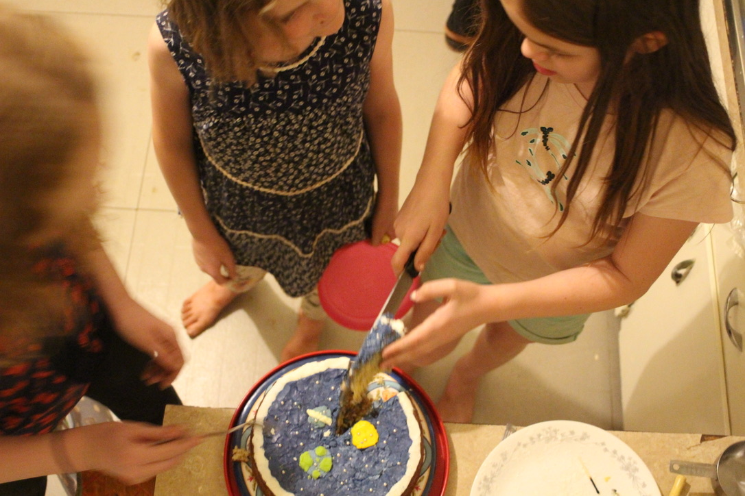 Elizabeth baked and decorated a space-themed birthday cake for David