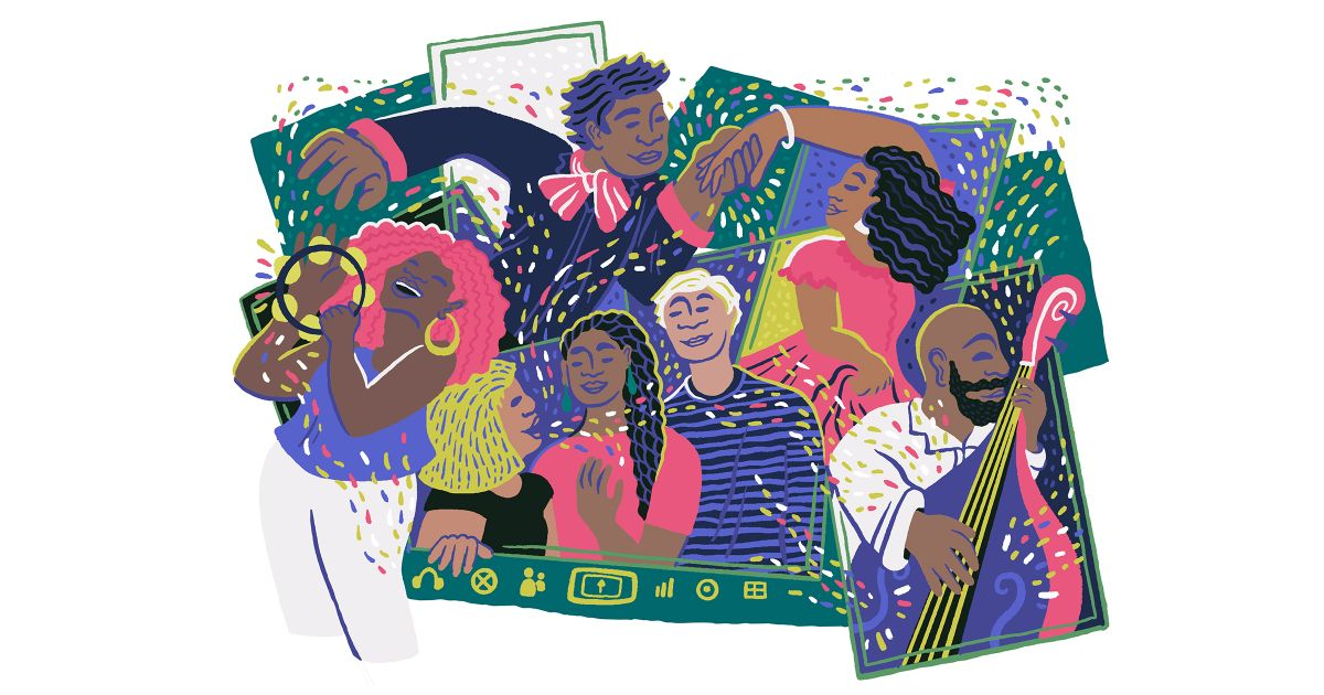 Illustration by Simone Martin-Newberry. Colorful cartoon of people talking, dancing, playing music. Various skin tones and hair colors represented.
