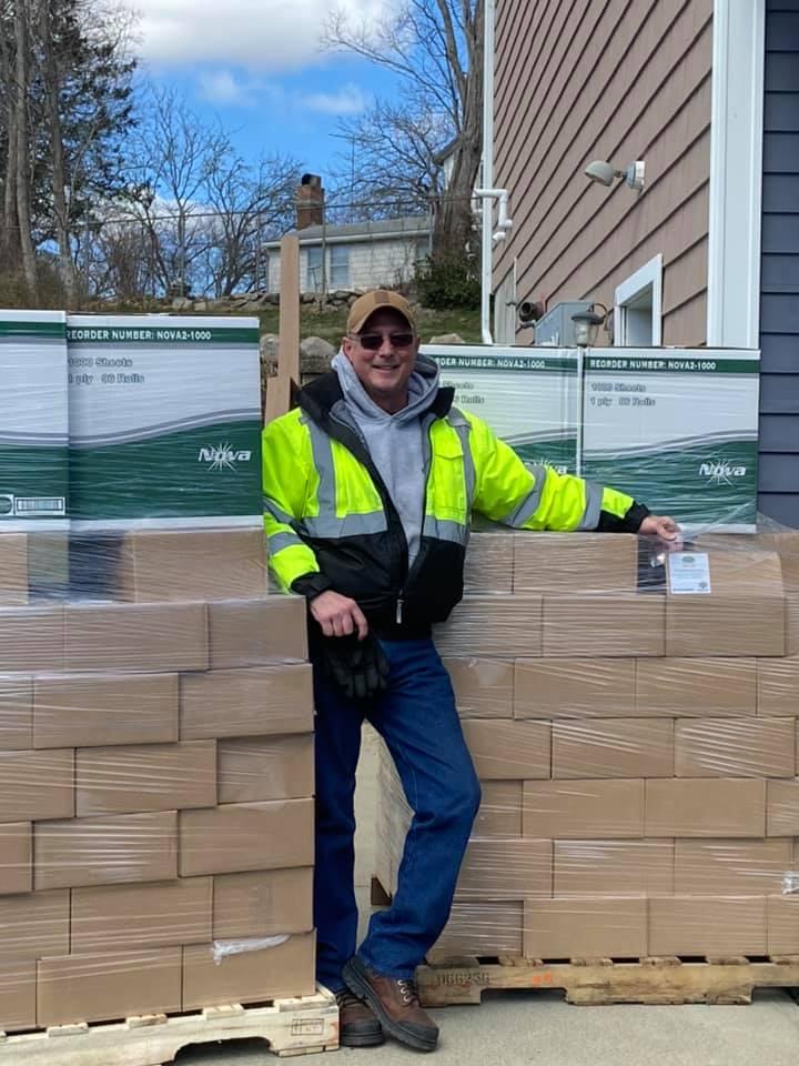 Driver Joe Reynolds delivering Meals4Kids boxes.