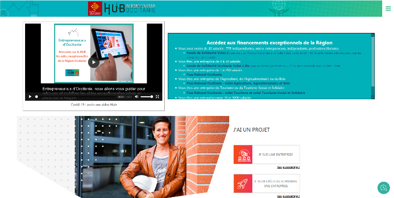 Portail Hub entreprendre de la région Occitanie