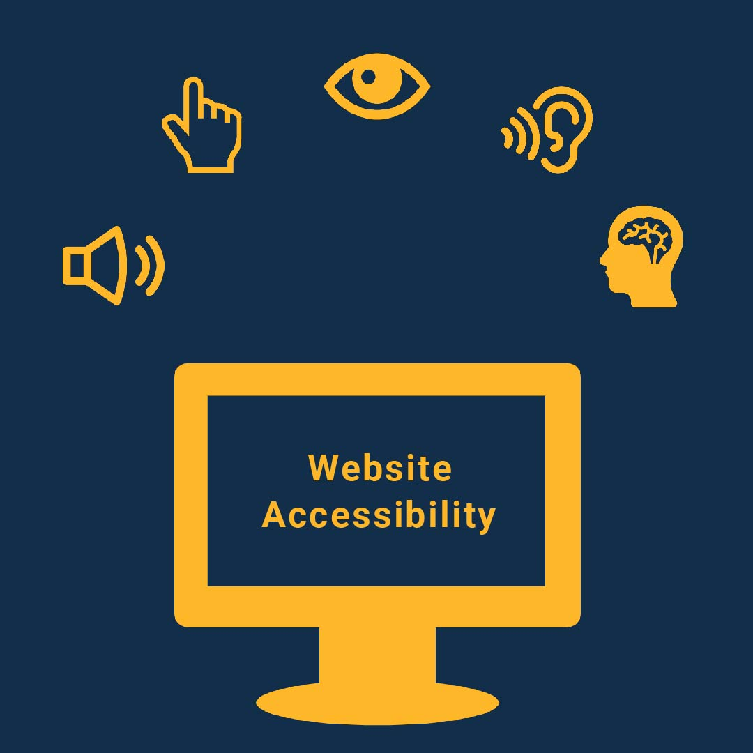 computer screen surrounded by accessibility icons including a speaker, eye, ear, brain, mouse pointer