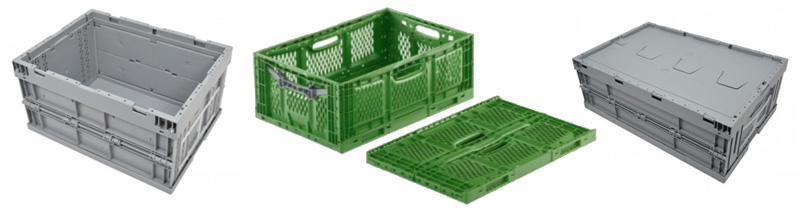 Folding plastic boxes