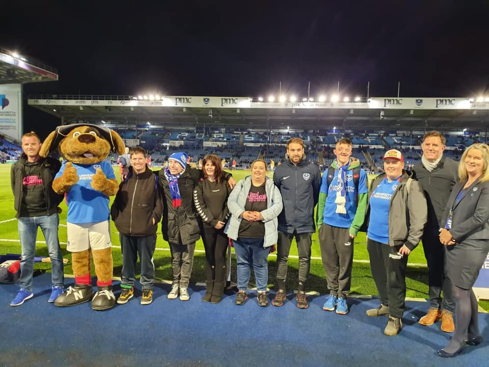 Group pic with Gig Buddies and Portsmouth Football Club
