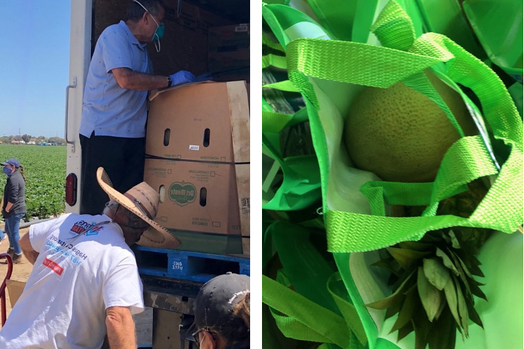 Volunteers deliver Port bags filled with produce to farmworkers across Ventura County on Tuesday