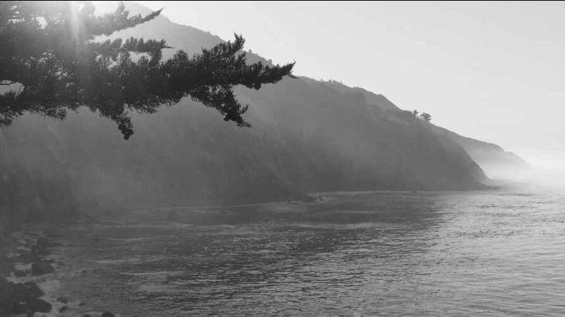 A black and white image of Big Sur's cliffsides