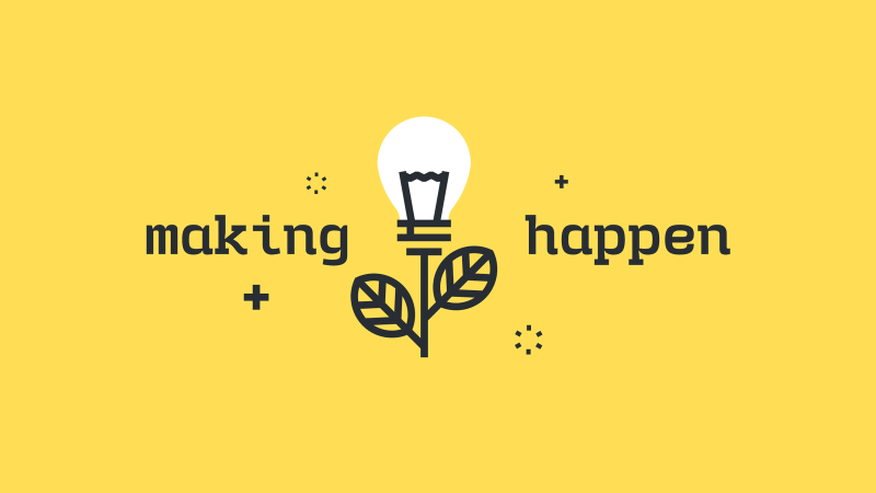 """A flower stem with a lightbulb in place of the bloom and text """"making happen"""""""