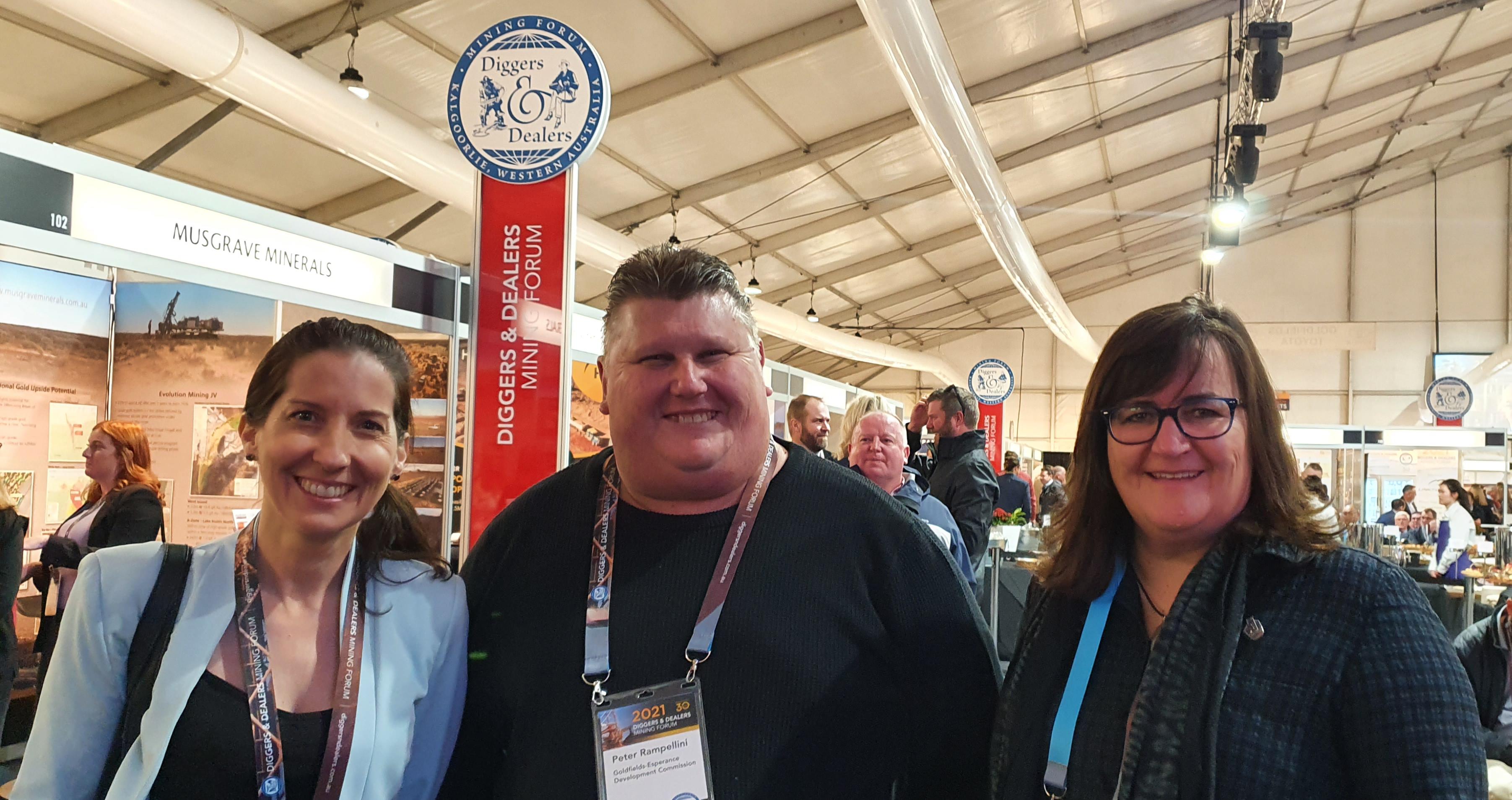 GEDC's Regan Brewer, Peter Rampellini and Sabina Shugg at Diggers and Dealers.