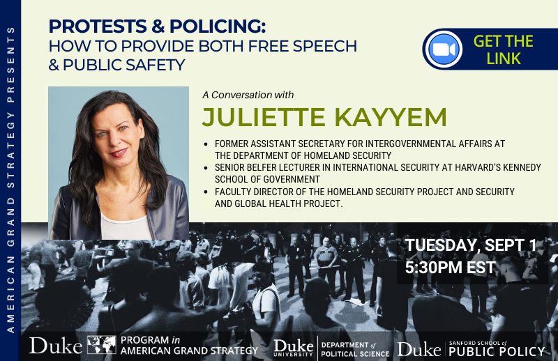 Protesting and Policing in the U.S. and Peaceful Solution Strategies @ https://duke.zoom.us/j/95204802270
