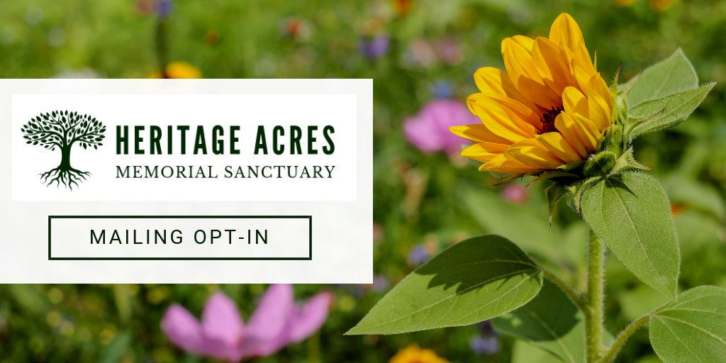 Photo of a yellow flower in a field with Heritage Acres logo showing this is the Mailing Opt-In form