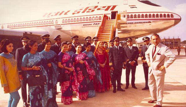 JRD Tata with Air India Crew