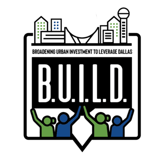 a logo with green and blue people and buildings