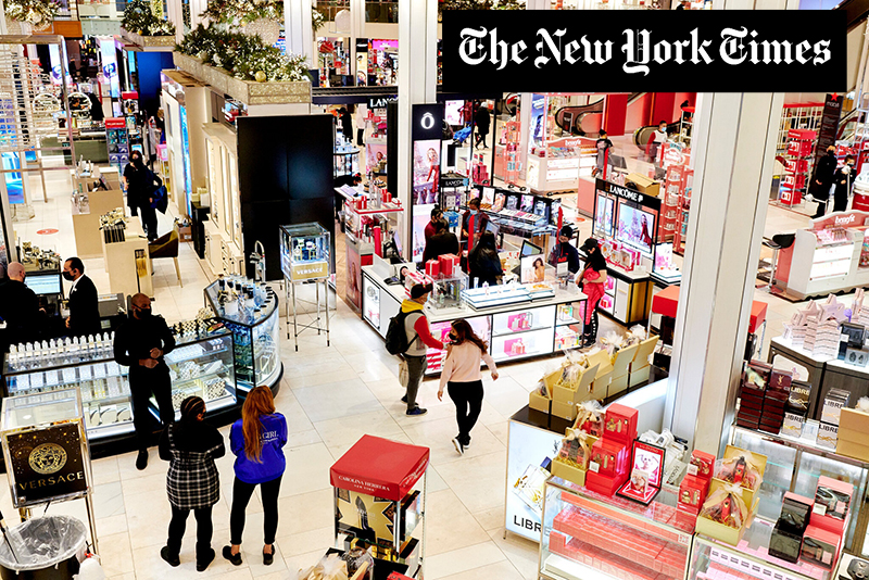 Early shoppers at Macy's in Herald Square on Black Friday.Credit...Gabby Jones for The New York Times