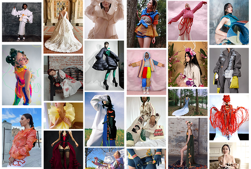 montage of student fashion designs