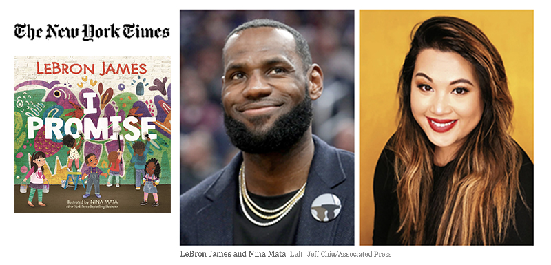 collage of images with I Promise book cover, NY Times logo, LeBron James, and Nina Mata