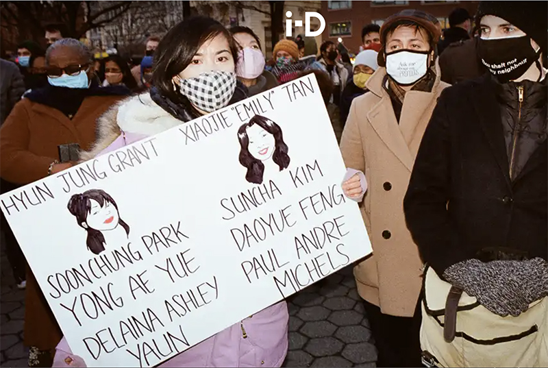 photo of supporters at Asian shooting victims vigil at Union Square from ID magazine