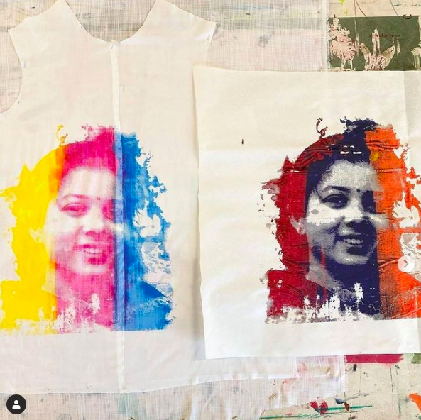 screenprinted tank and tote with student's face