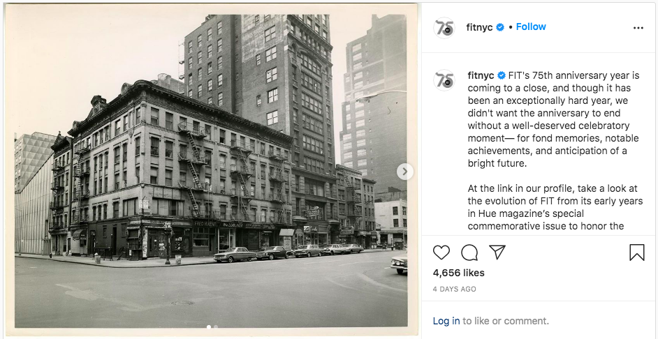 screenshot of FIT Instagram post of historical photo of West 27th Street and Seventh Avenue