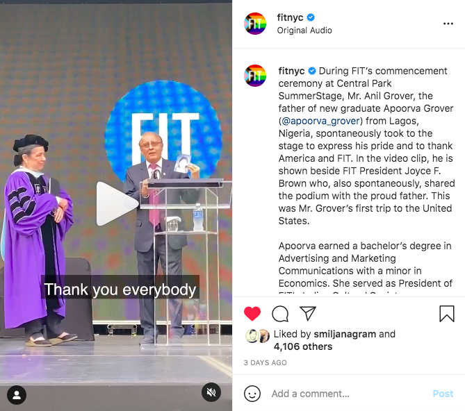 Screenshot of Instagram post featuring father on commencement stage thanking FIT for daughter's education