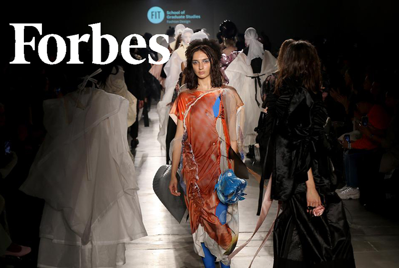 FIT Fashion Design MFA runway show and Forbes logo