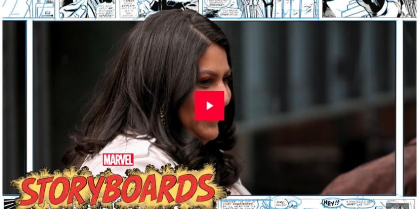 Samhita Mukhopadhyay and Marvel Storyboards logo