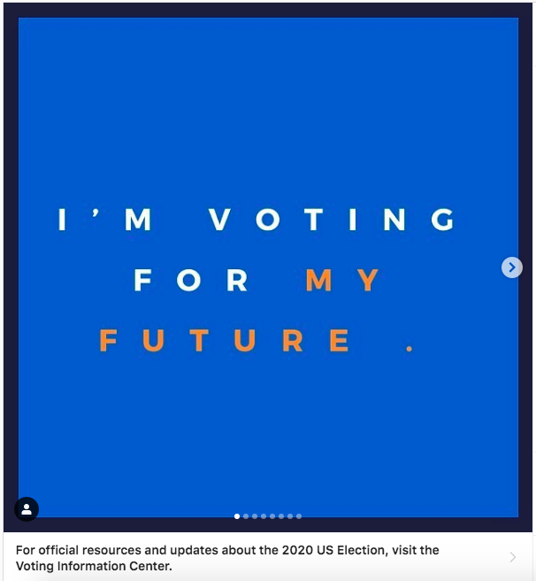 screenshot of FIT Instagram post encouraging students to vote