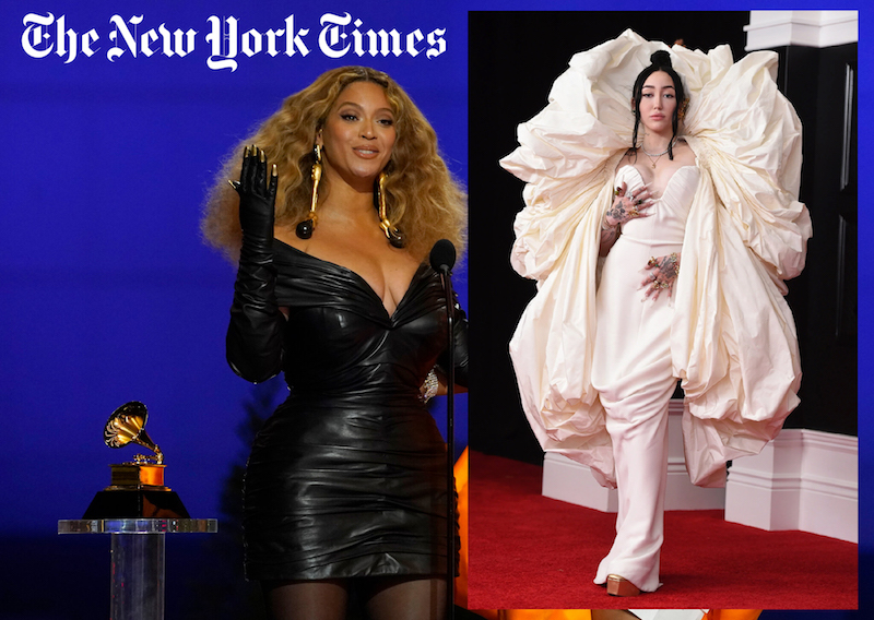 Beyonce and Noah Cyrus wearing Schiaparelli dresses at the Grammys and New York Times logo